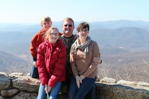 Family picture top of Shenandoah Mountains